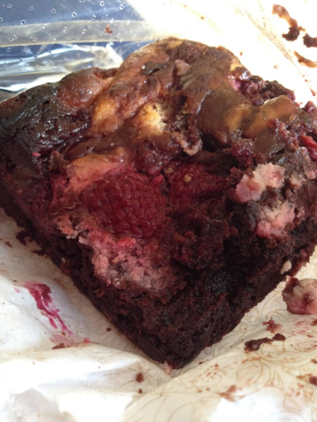 Raspberry and cream cheese brownie from Harrods, London
