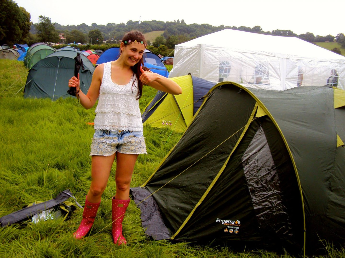 Pitching our tent at Glastonbury Festival