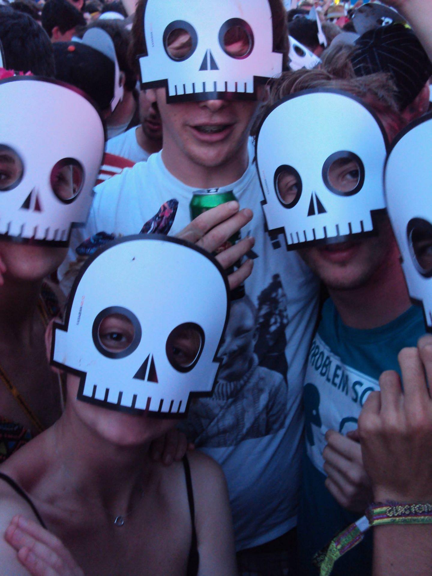 Wearing skulls masks at Kasabian