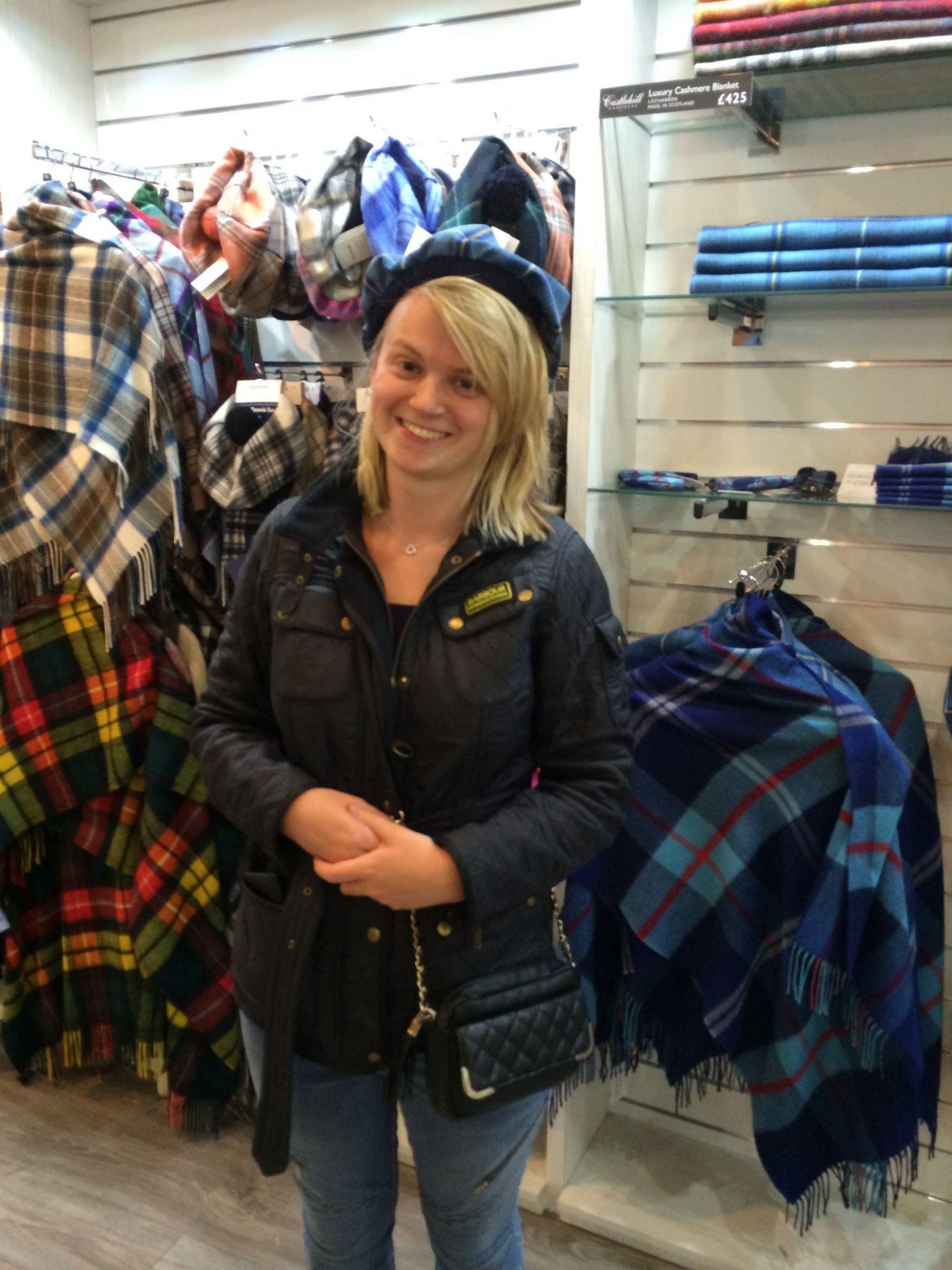 Laura wearing a tam o' shanter in Edinburgh