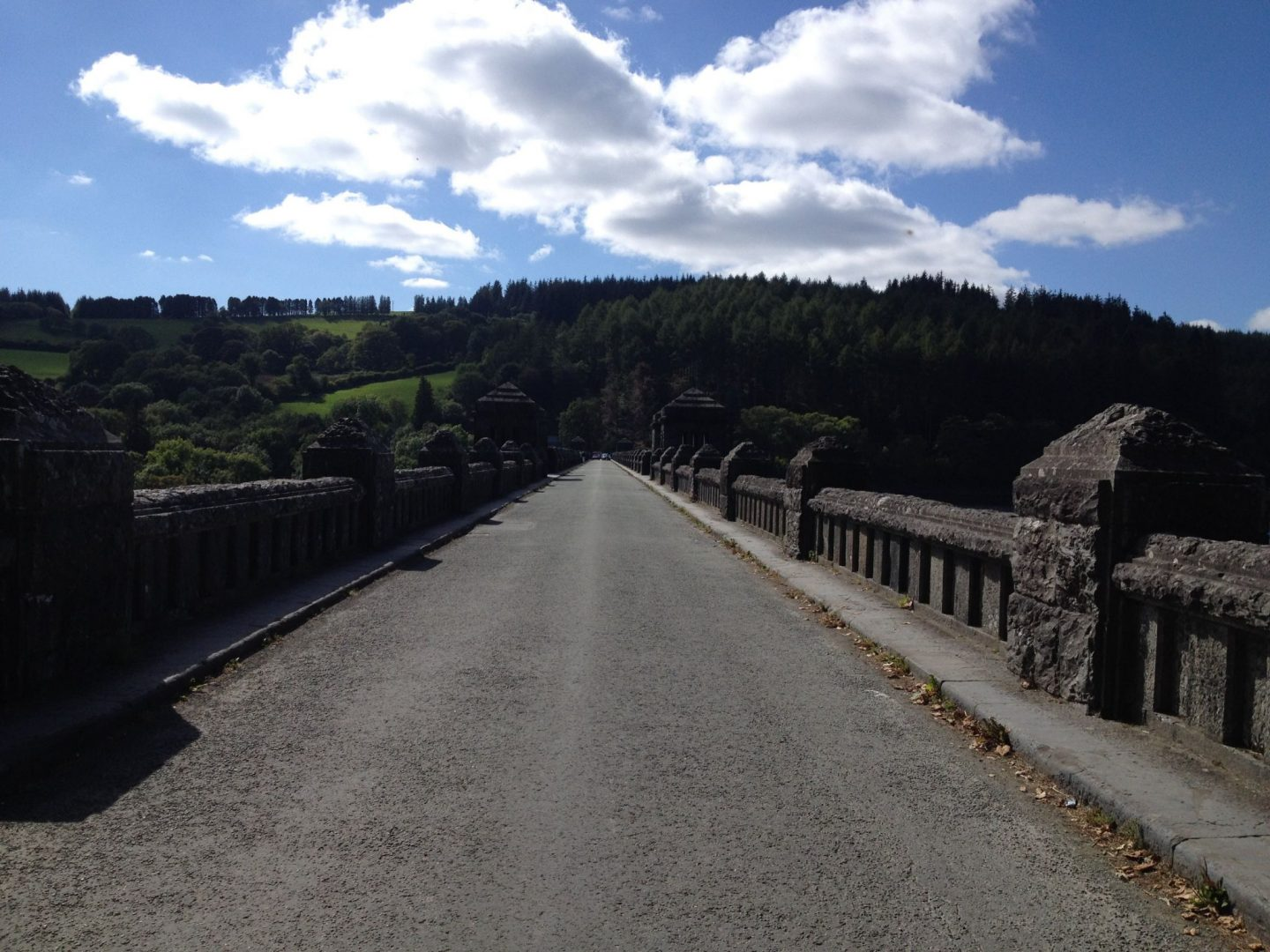 Driving over the bridge at Lake Vyrnwy, Wales