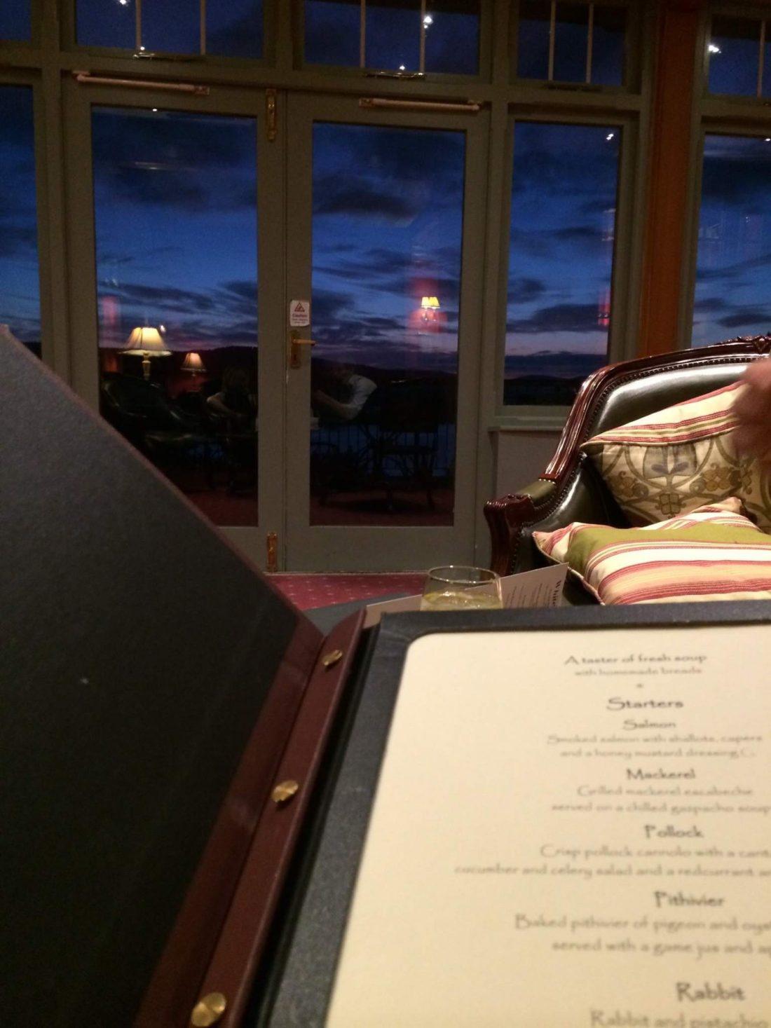 Menus at Lake Vyrnwy Hotel and Spa, Wales