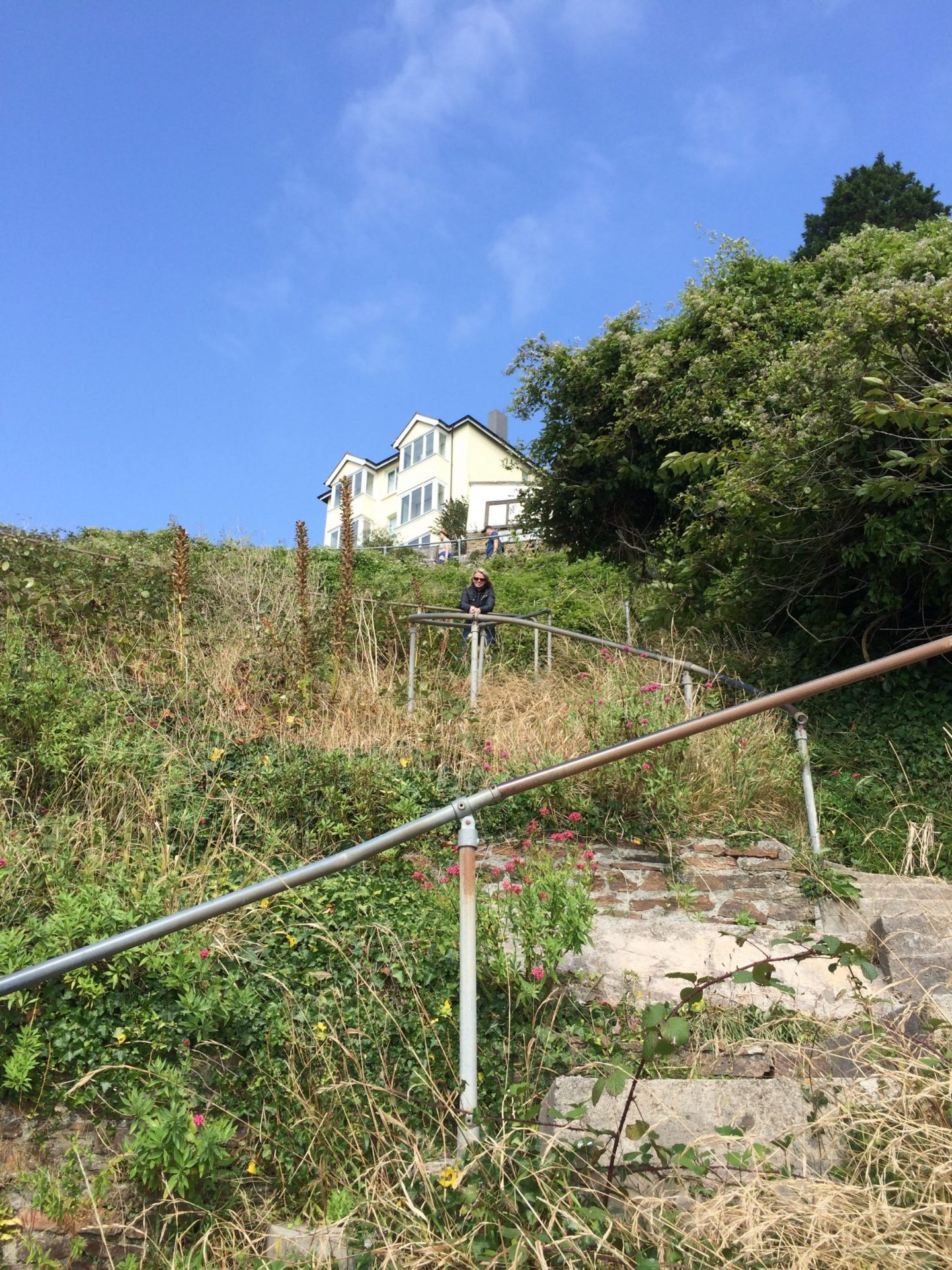 Steps up from the beach in Looe, Cornwall