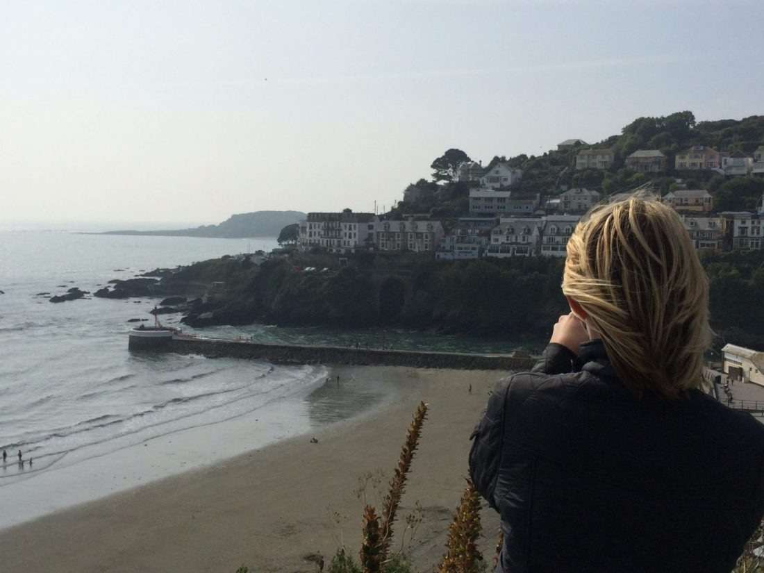 Laura overlooking the beach in Looe, Cornwall
