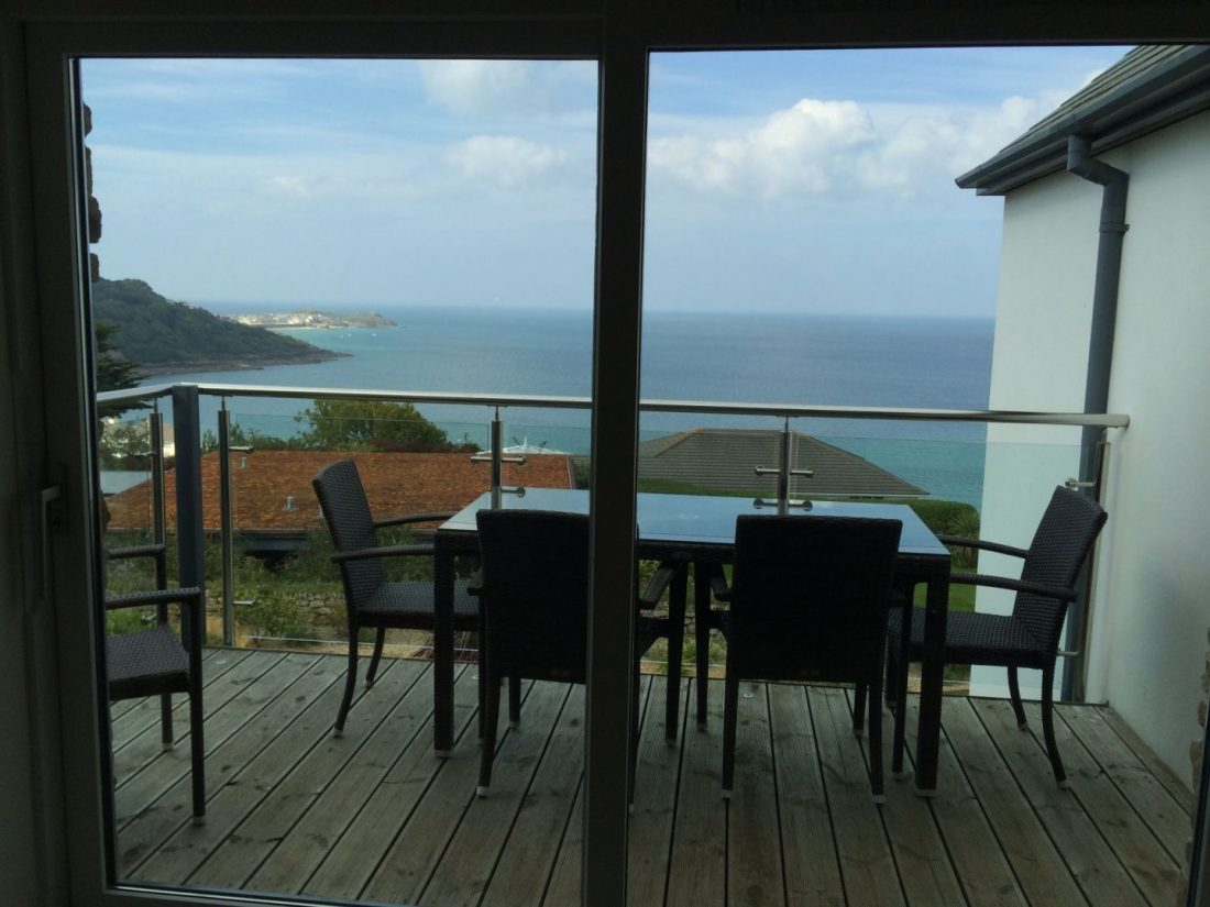 Balcony view over Carbis Bay, Cornwall