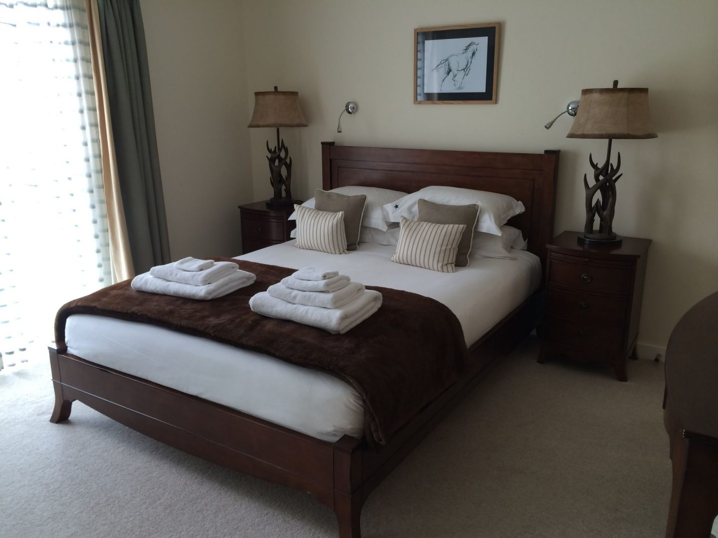Master bedroom in Hawkes Point, Cornwall