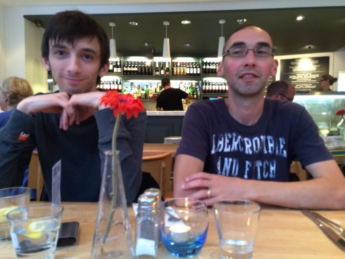 Jack and Paul at the Seafood Cafe, Cornwall