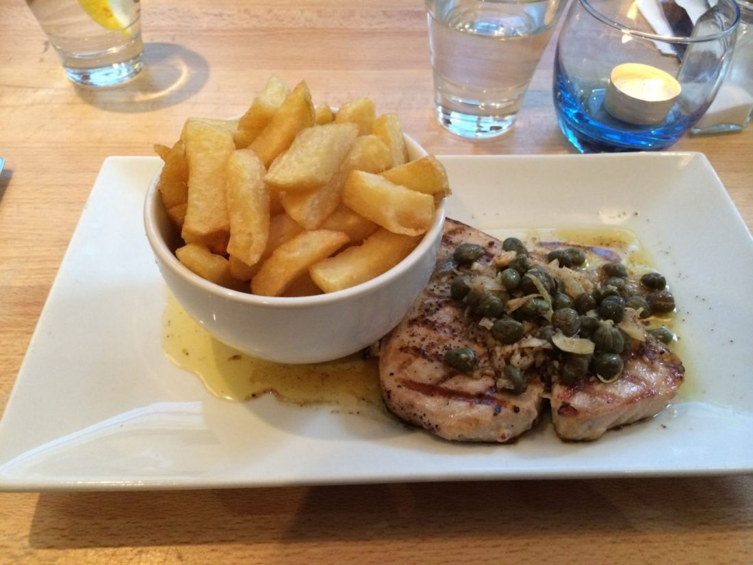 Swordfish and chips at the Seafood Cafe, Cornwall