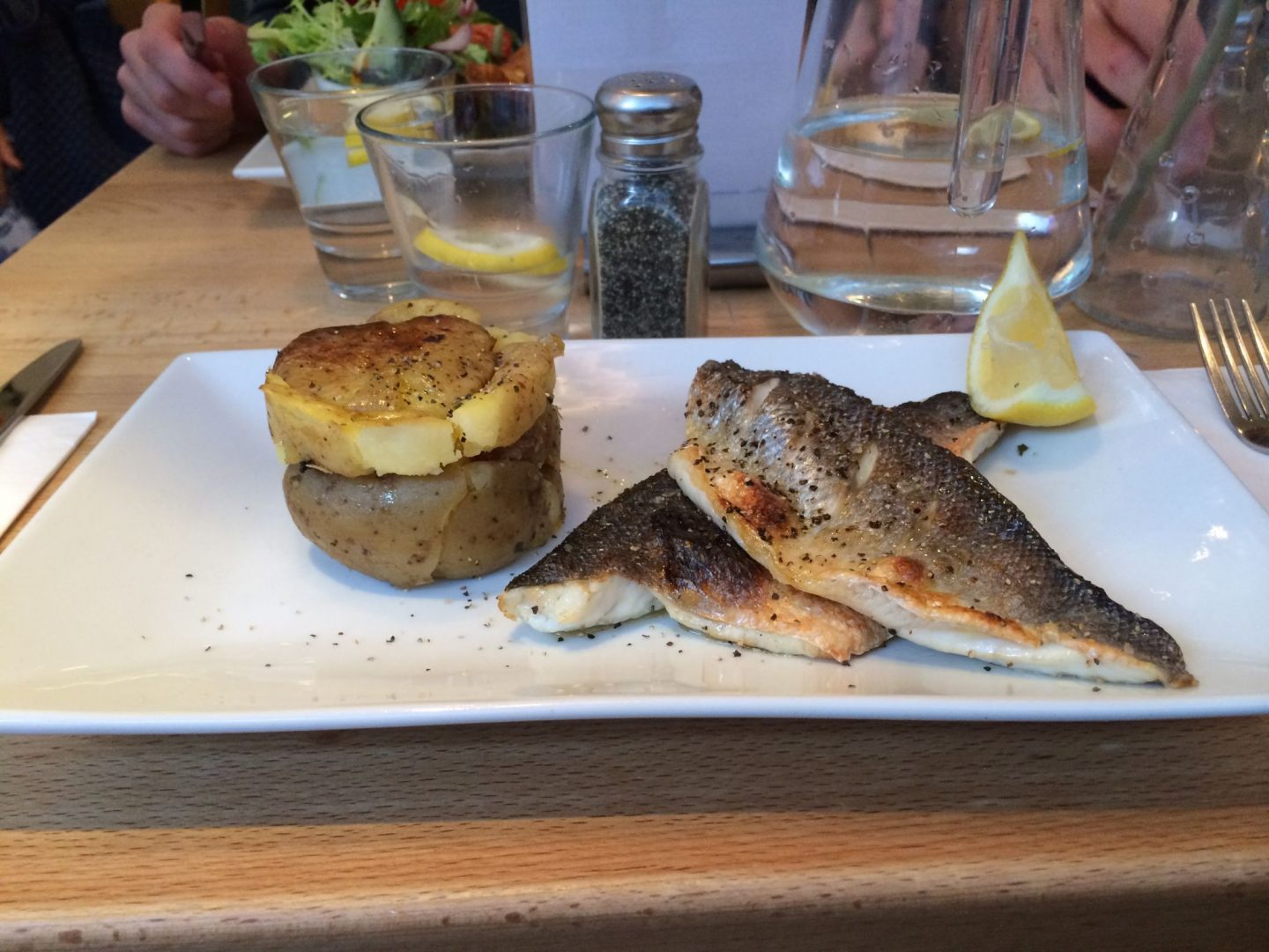 Seabass and potatoes at the Seafood Cafe, Cornwall