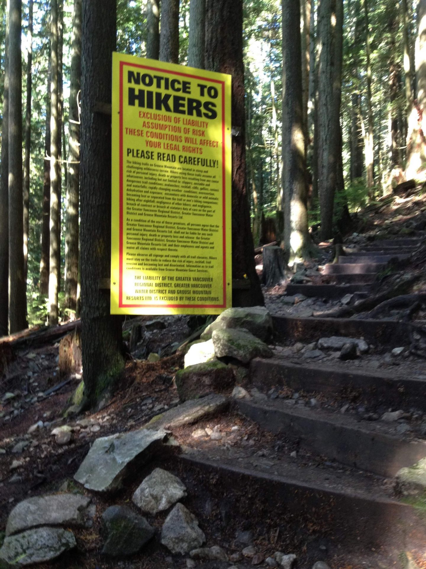 Warning to hikers on the Grouse Grind