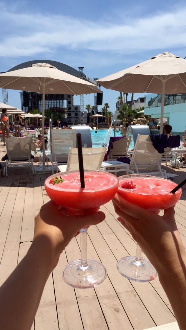 Strawberry daiquiris in Ibiza, Spain