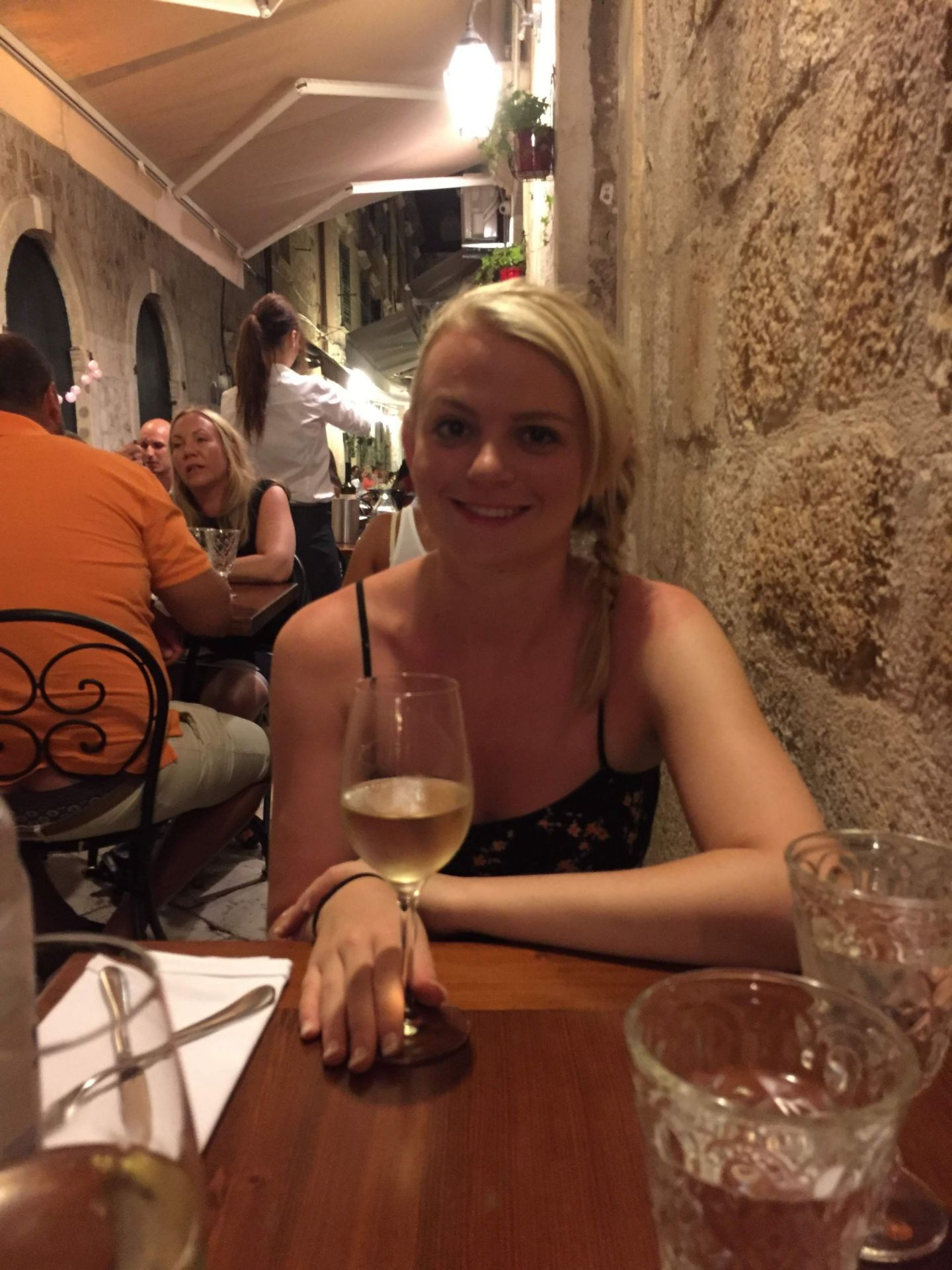 Laura at dinner in Dubrovnik, Croatia