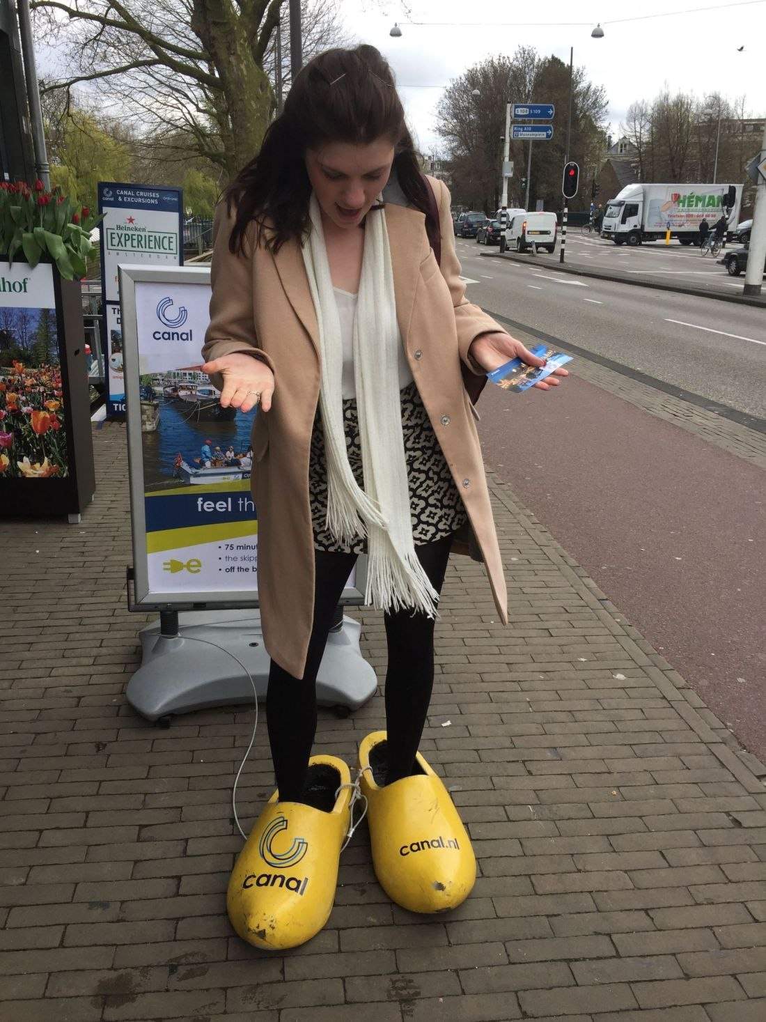 Wearing clogs in Amsterdam