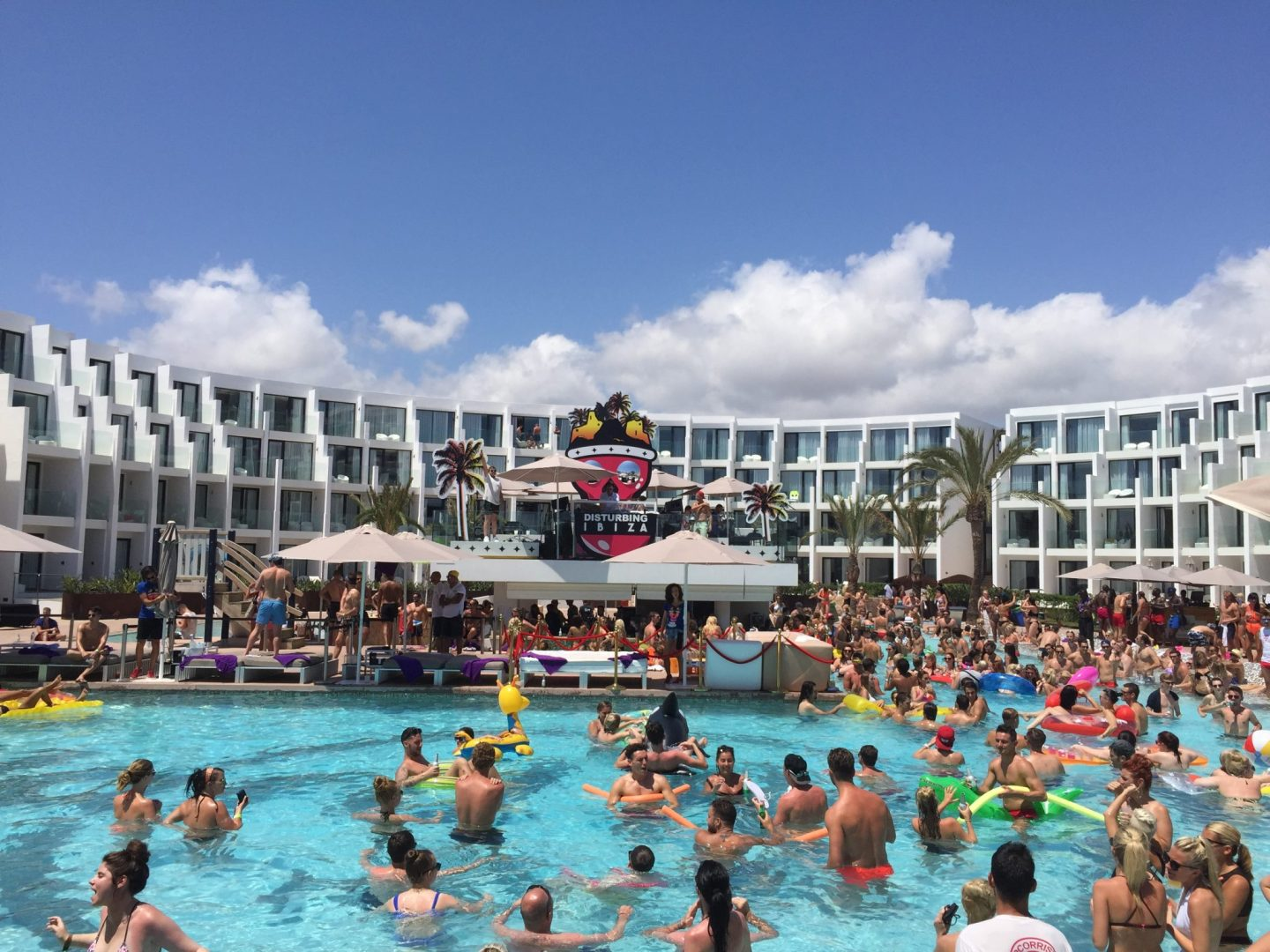 Inflatables at the pool for the pool party at Hard Rock Hotel Ibiza