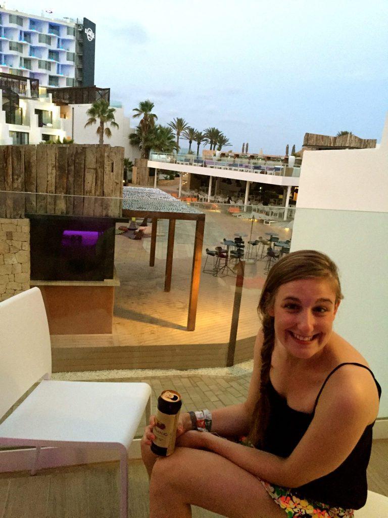 Jo at Hard Rock Hotel Ibiza after the Sunset Strip