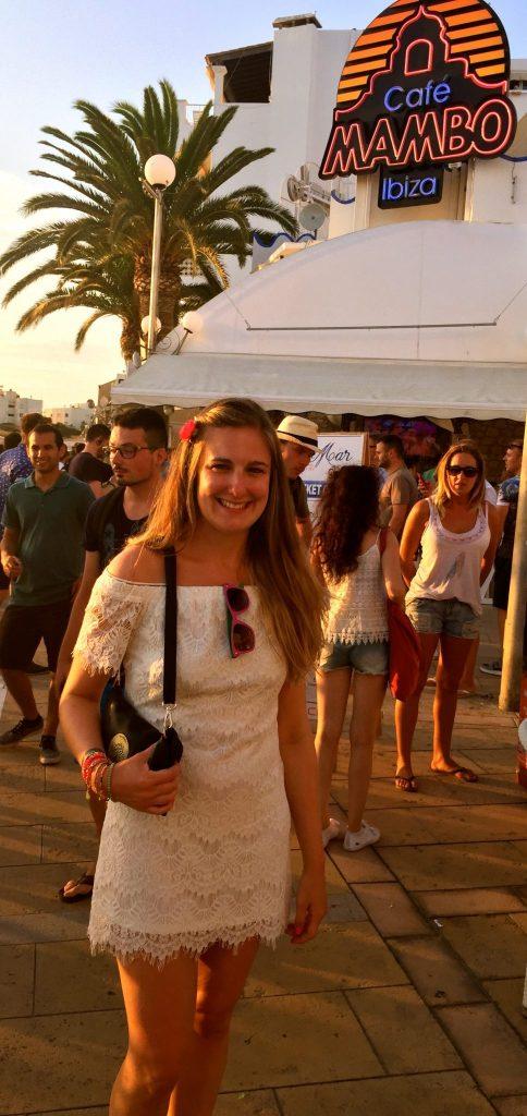 Jo on Ibiza's Sunset Strip