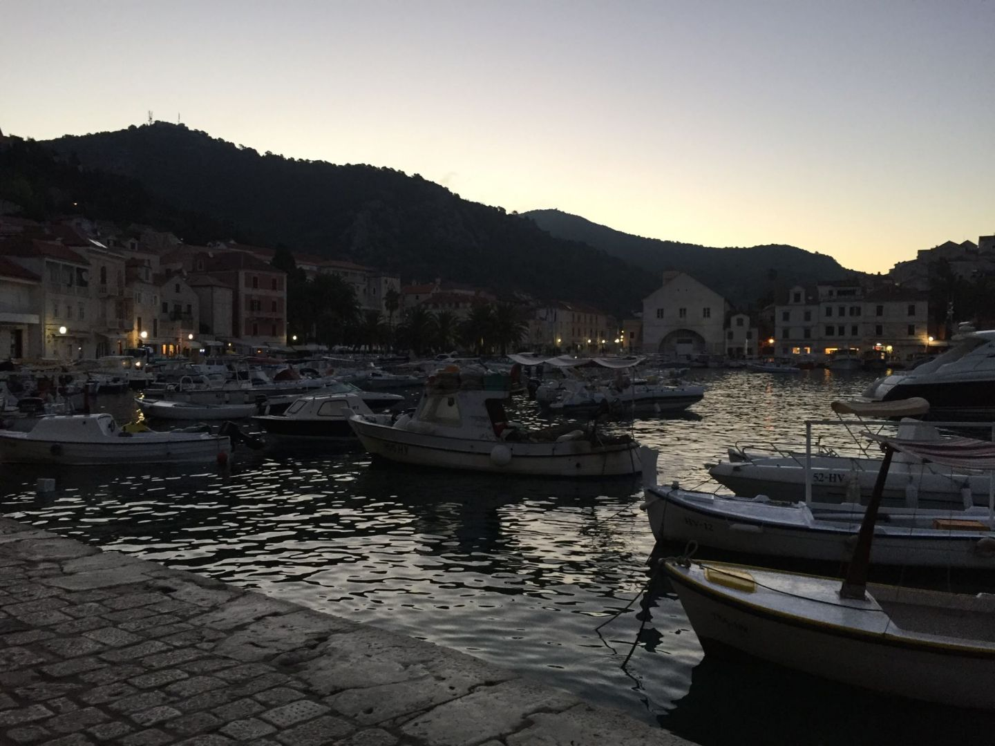 Hvar harbour at sunrise, Croatia
