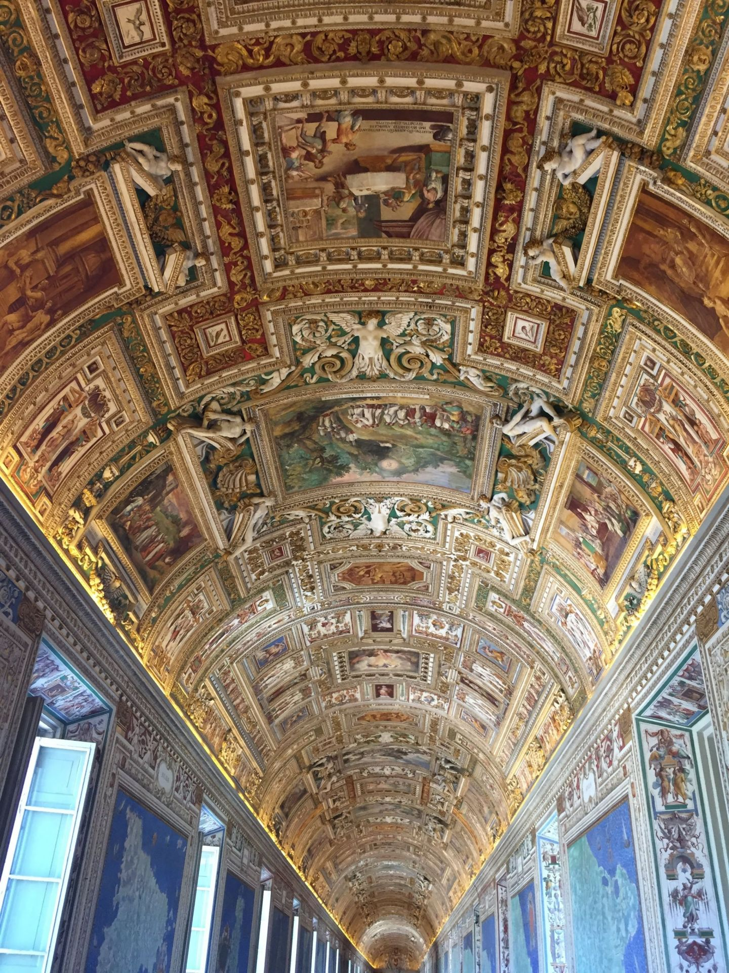 Elaborate ceiling artwork in the Vatican City Museum