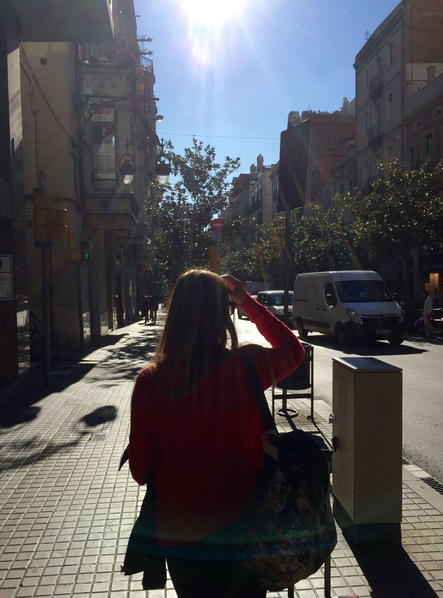 Walking along the Barcelona streets in Spain