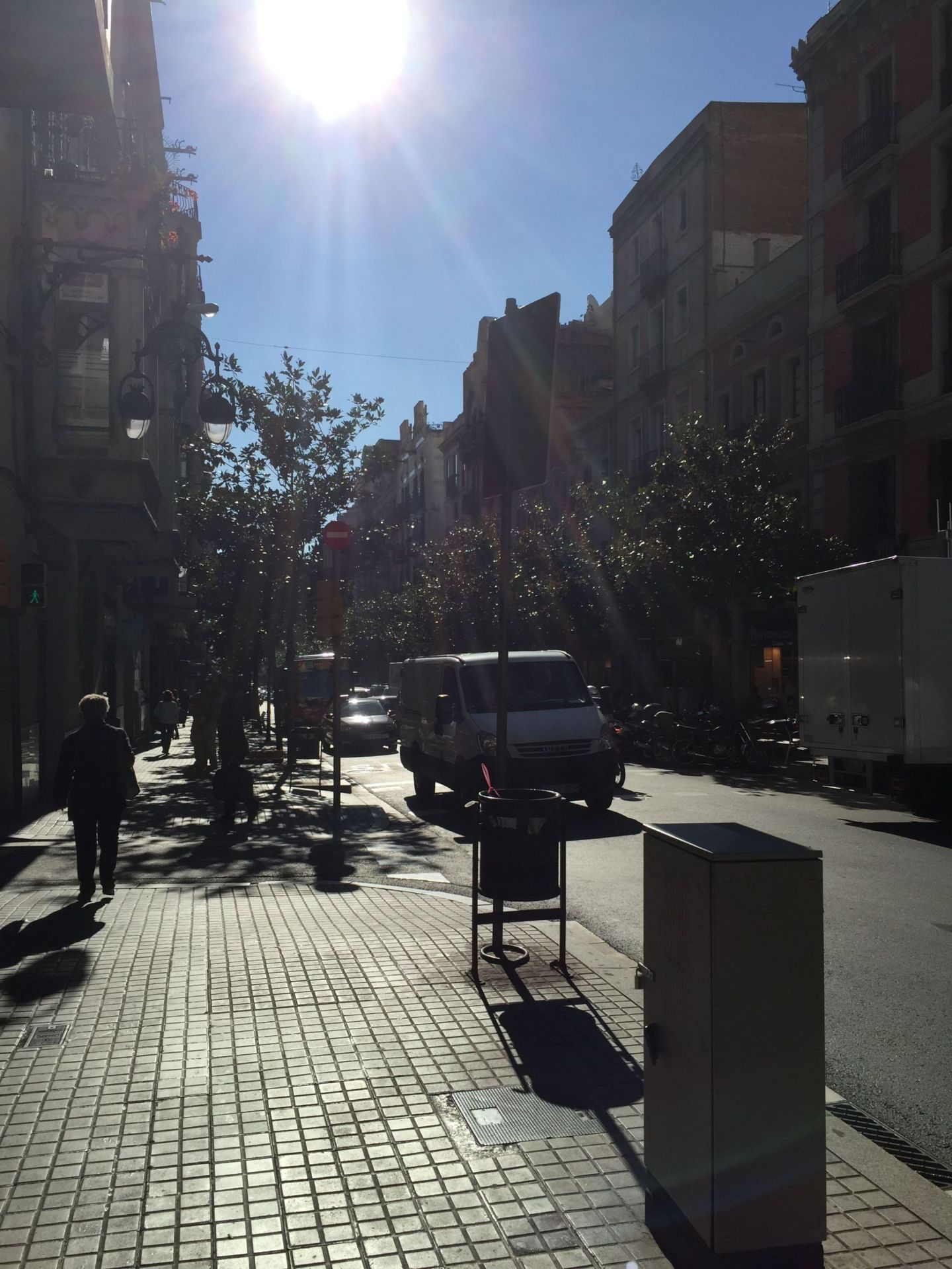 Streets of Barcelona in the sun