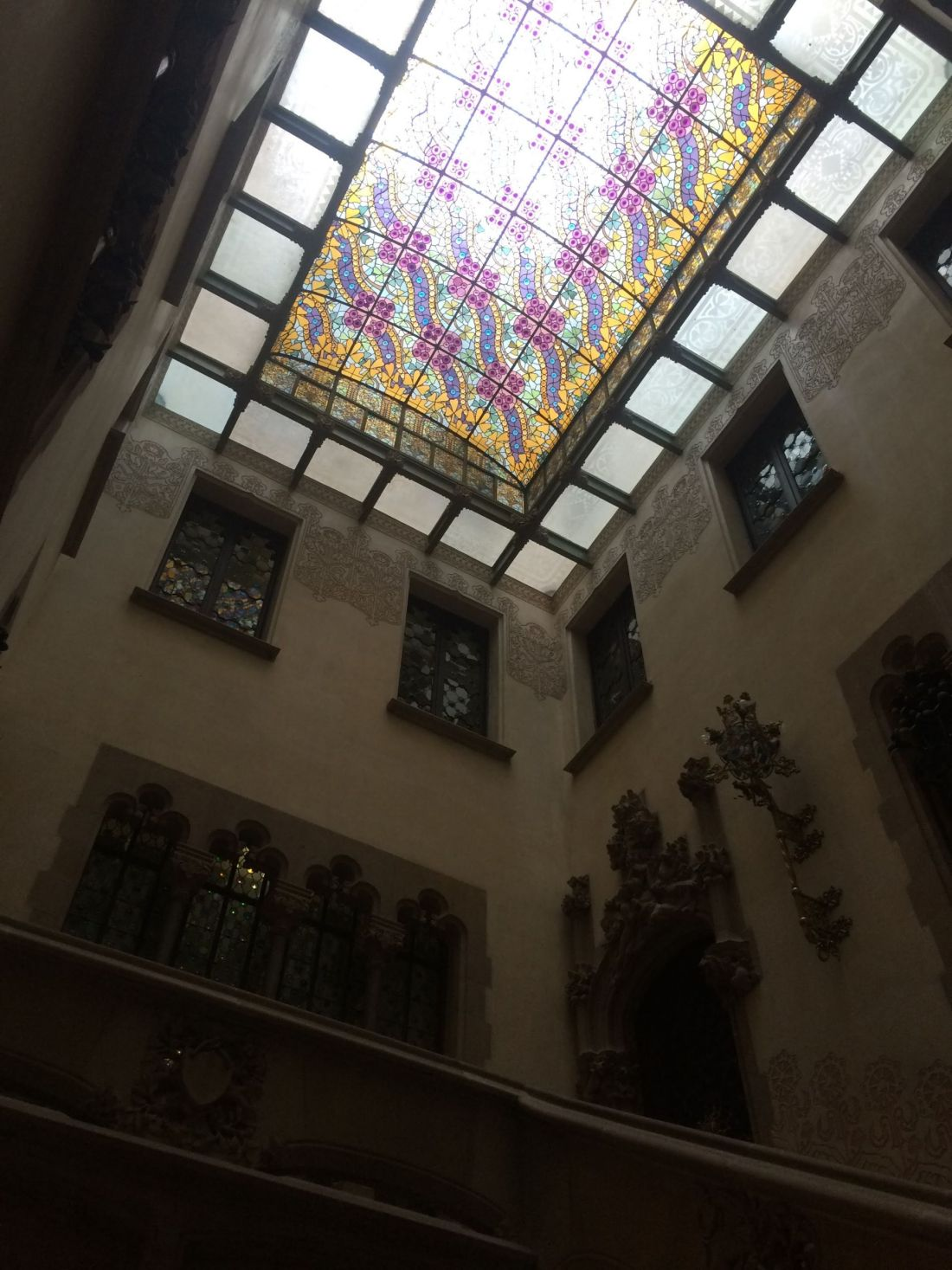 Stained glass ceiling of Casa Amatller, Barcelona