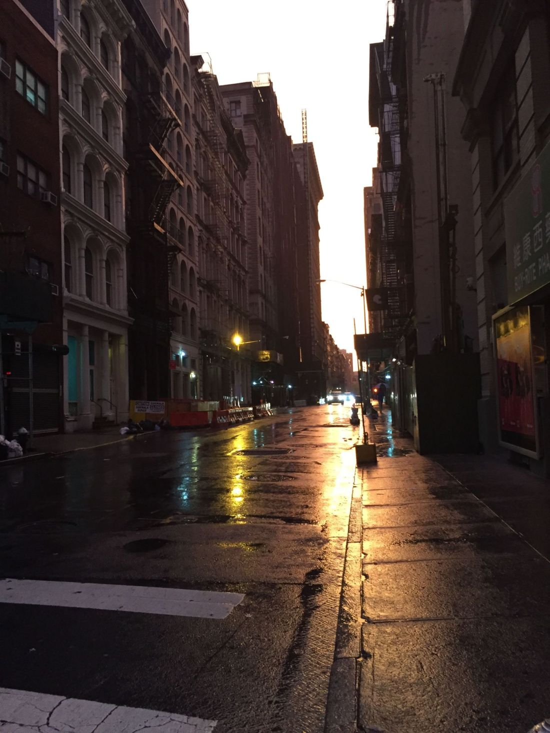 Rain across SoHo, New York City