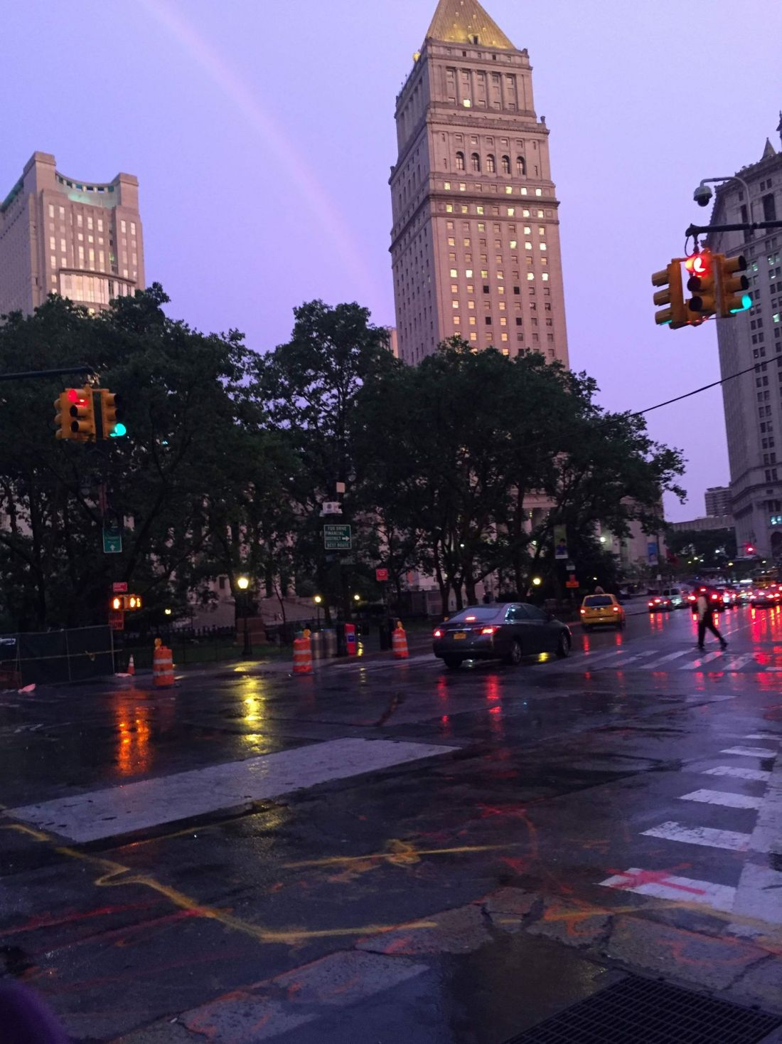 Lilac skies across New York City