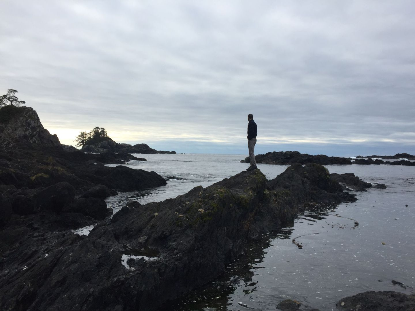 Scaling the rocks of the Wild Pacific Trail near Ucluelet