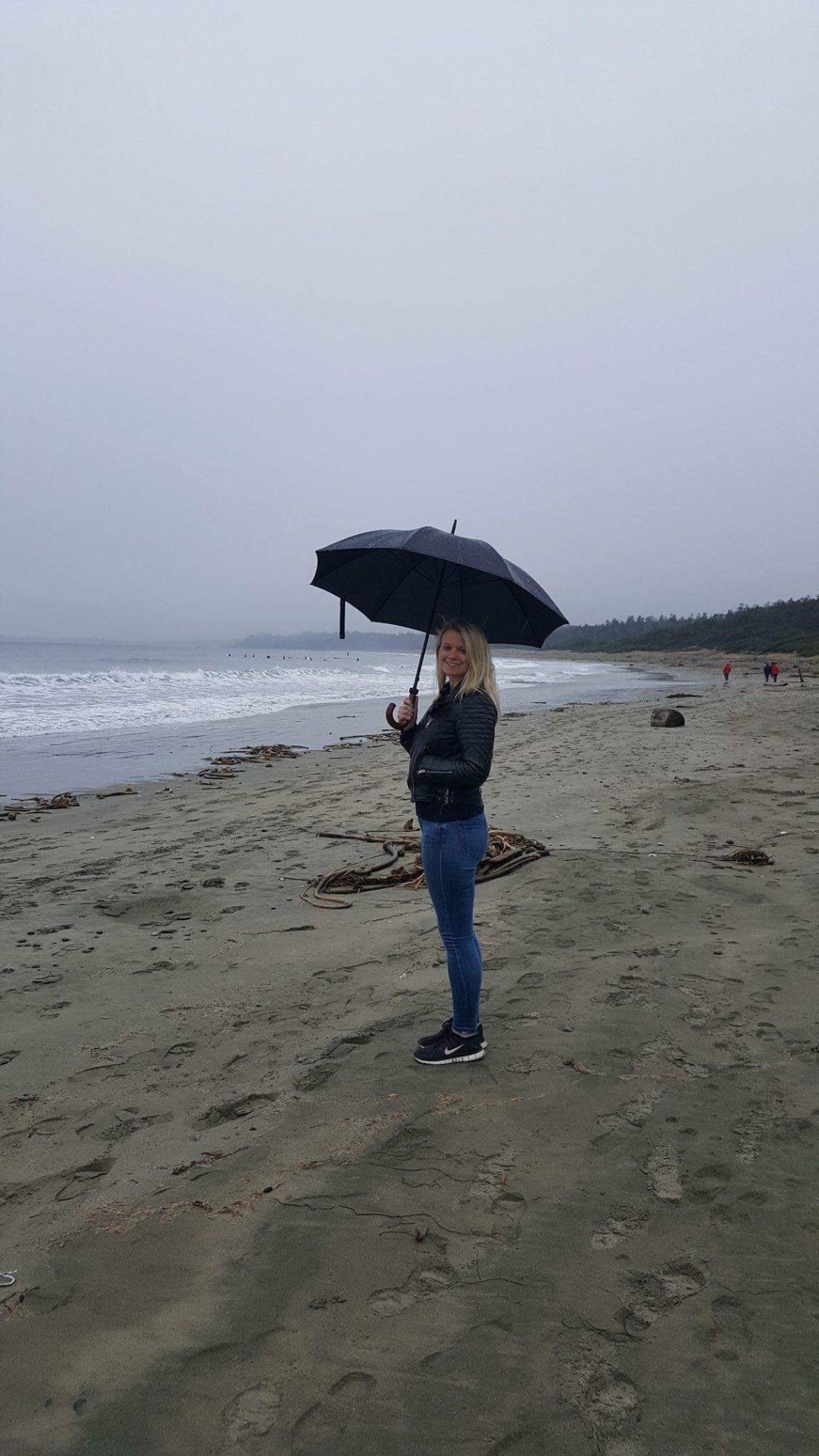Laura with an umbrella on Long Beach, Ucluelet