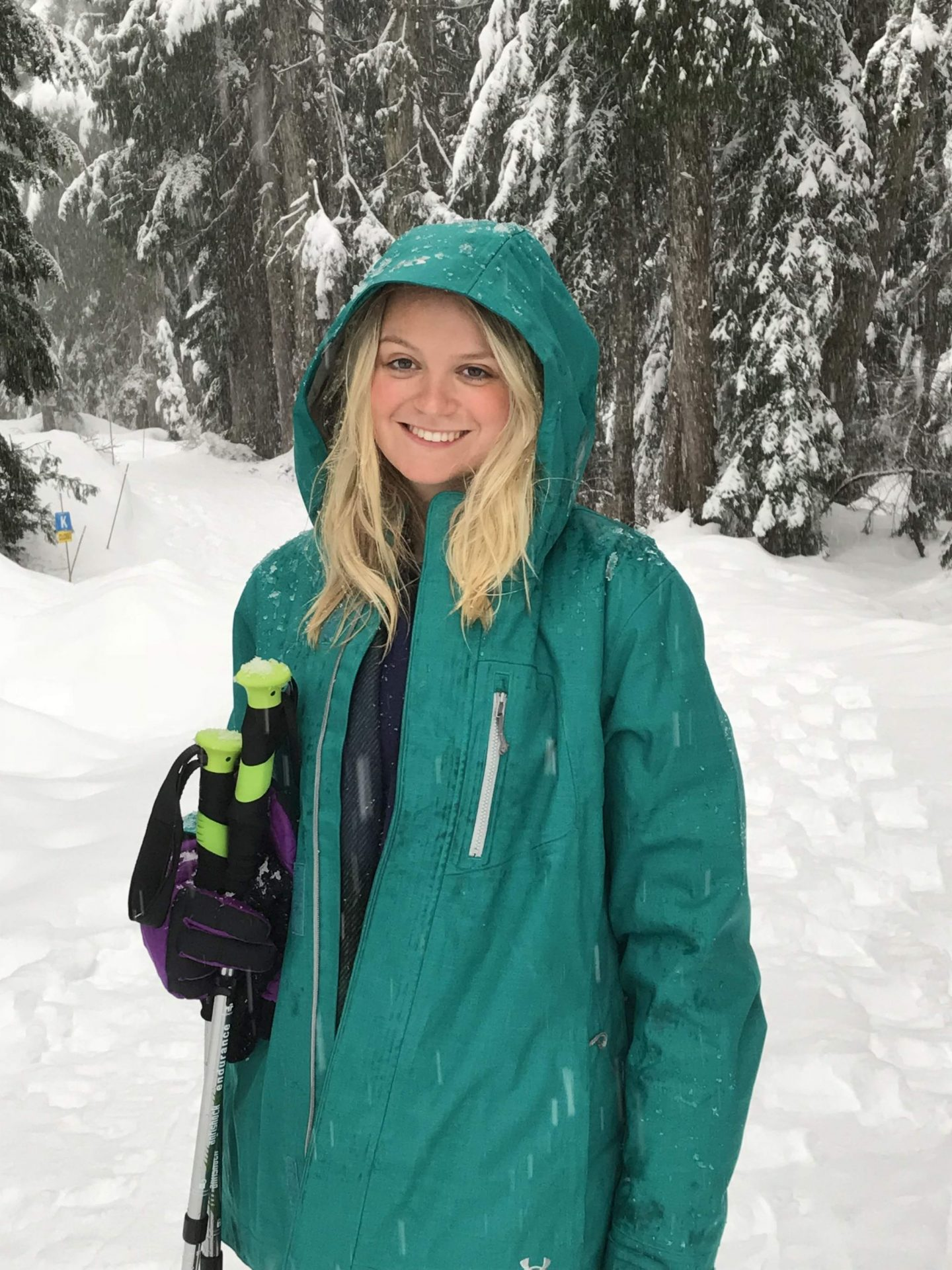 Laura in a winter wonderland on Mount Seymour, Vancouver