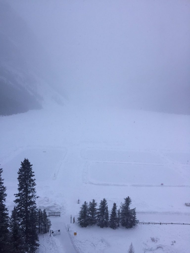 Beautiful views across a wintery Lake Louise from our window