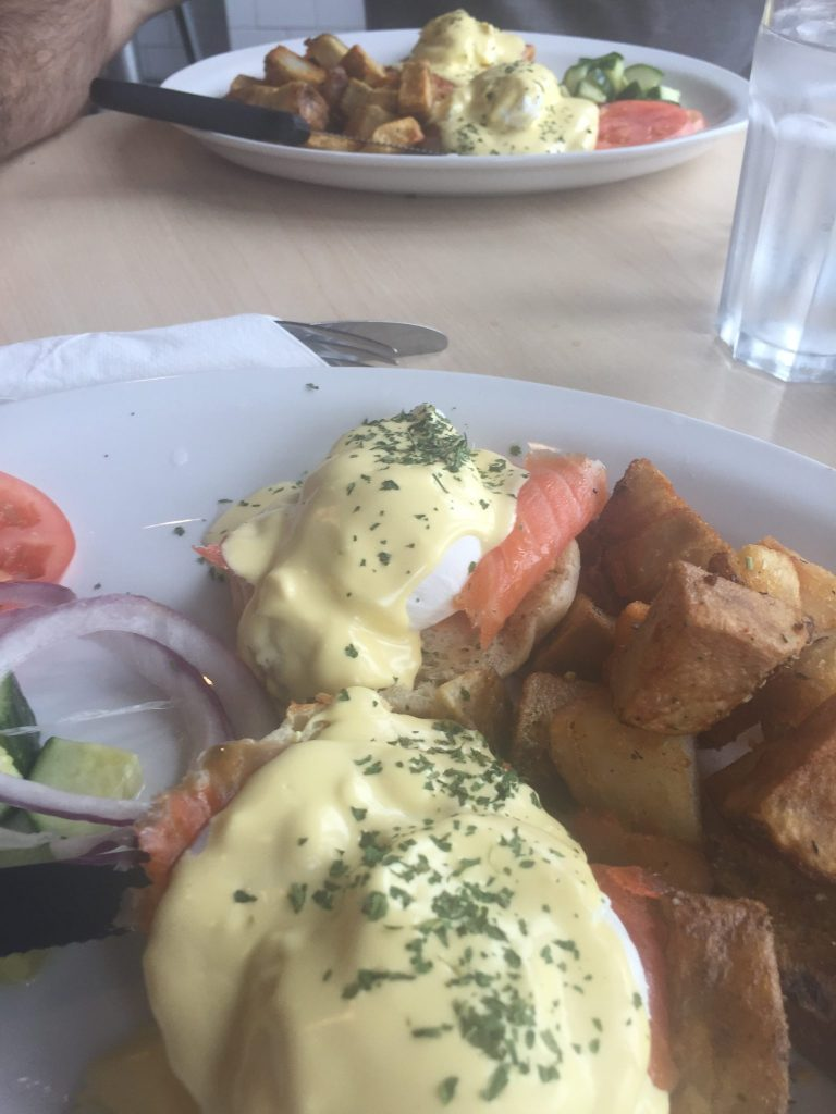 Smoked salmon eggs benedict at Frankie's Diner, Toronto