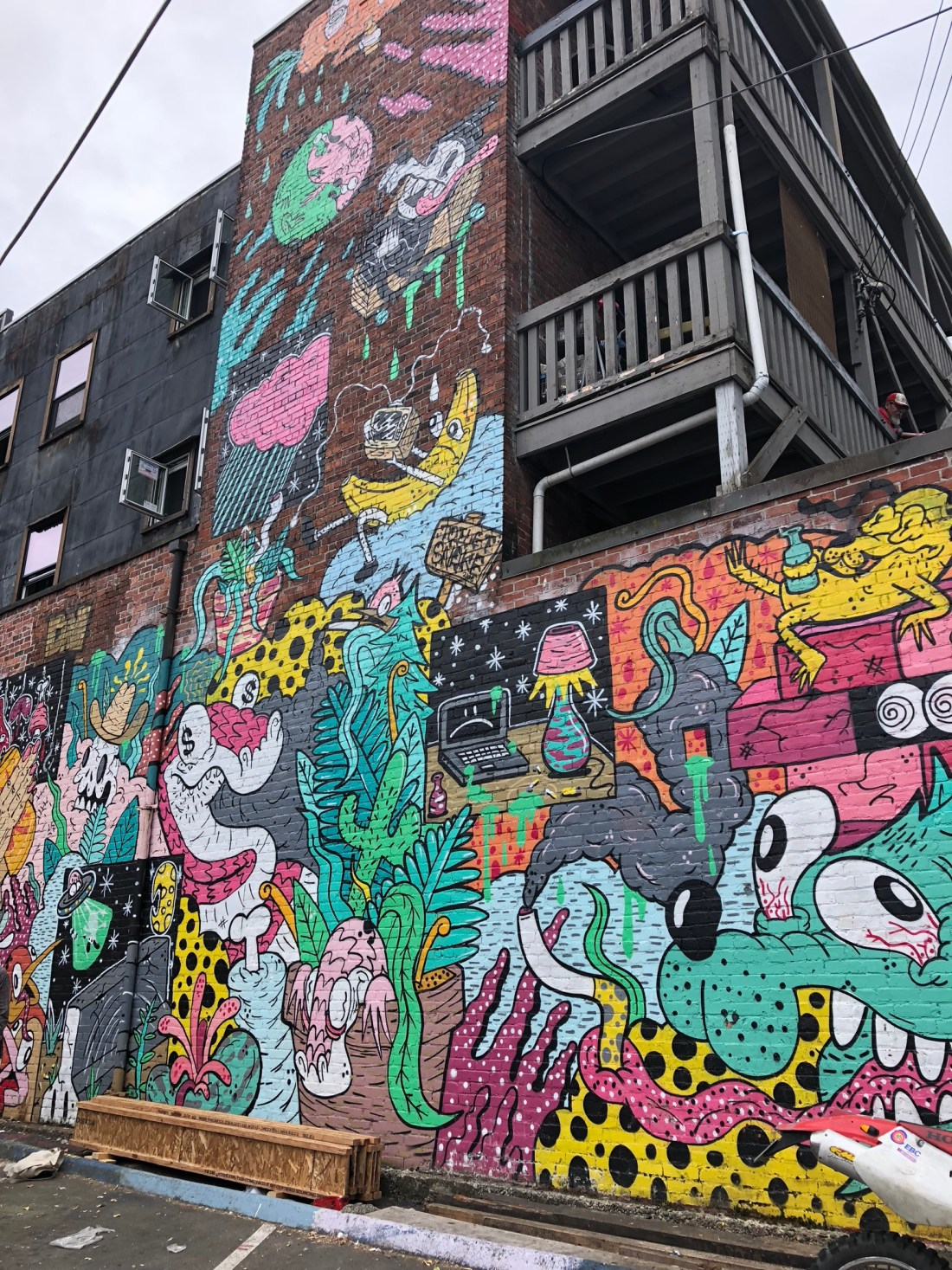 Colourful cartoon mural at Vancouver Mural Festival