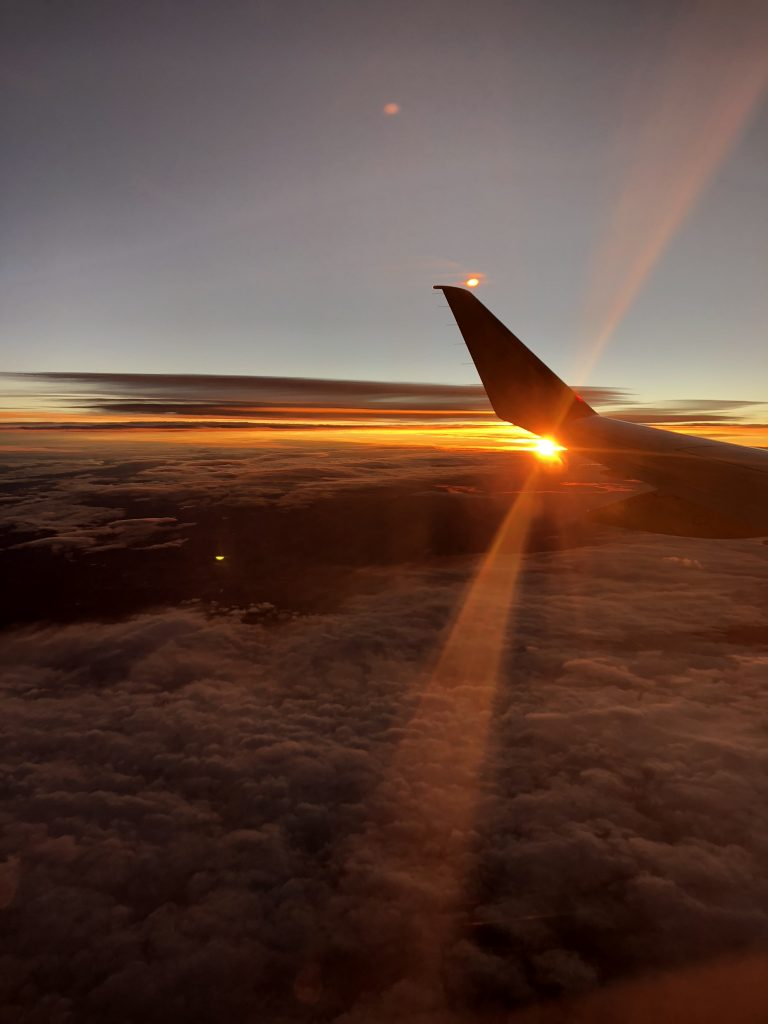 Sunrise on the plane to Los Angeles, California