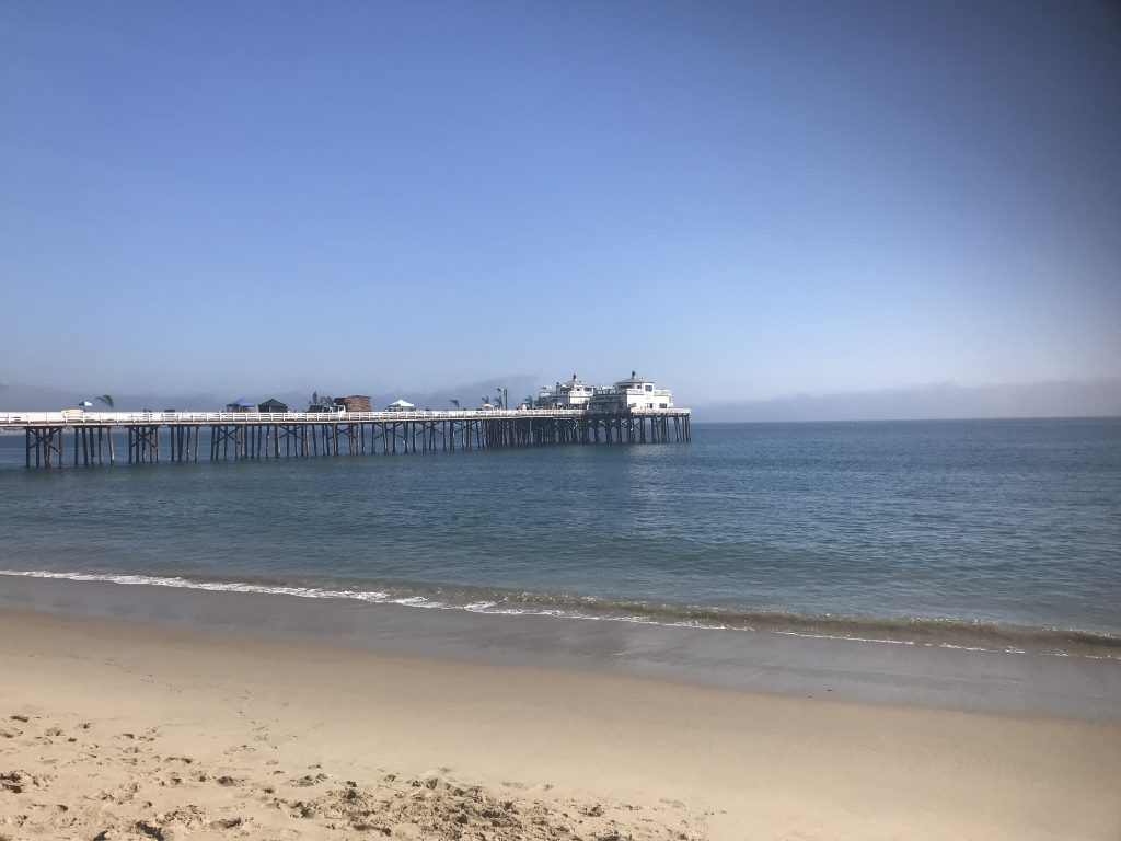 Views across to Malibu Pier, California