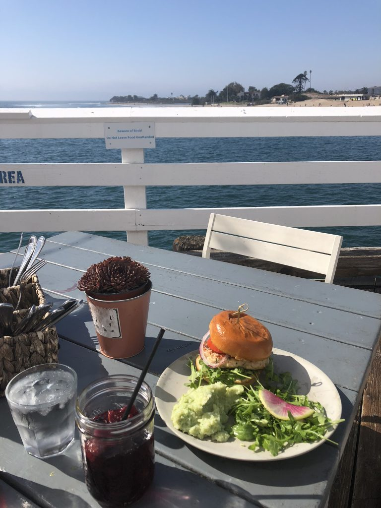 Delicious food from Malibu Farm with a view, California