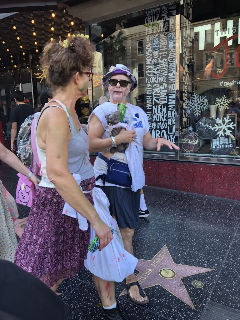 People dressed up for Halloween on Hollywood Boulevard, LA