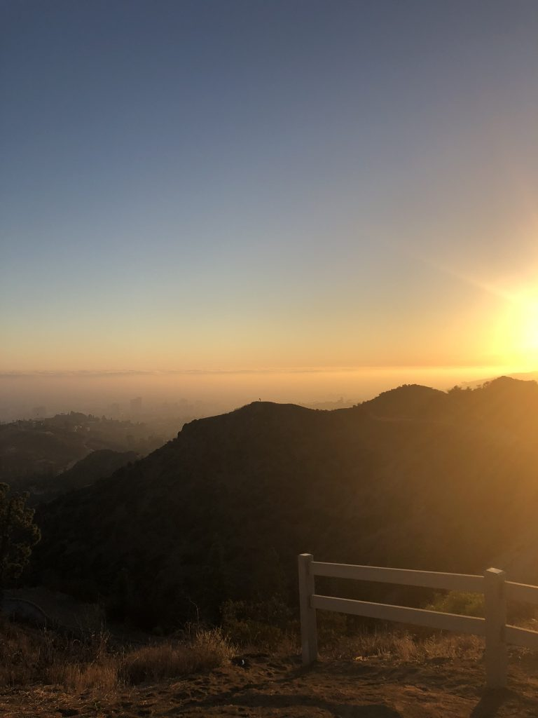 Sunset near the Hollywood sign