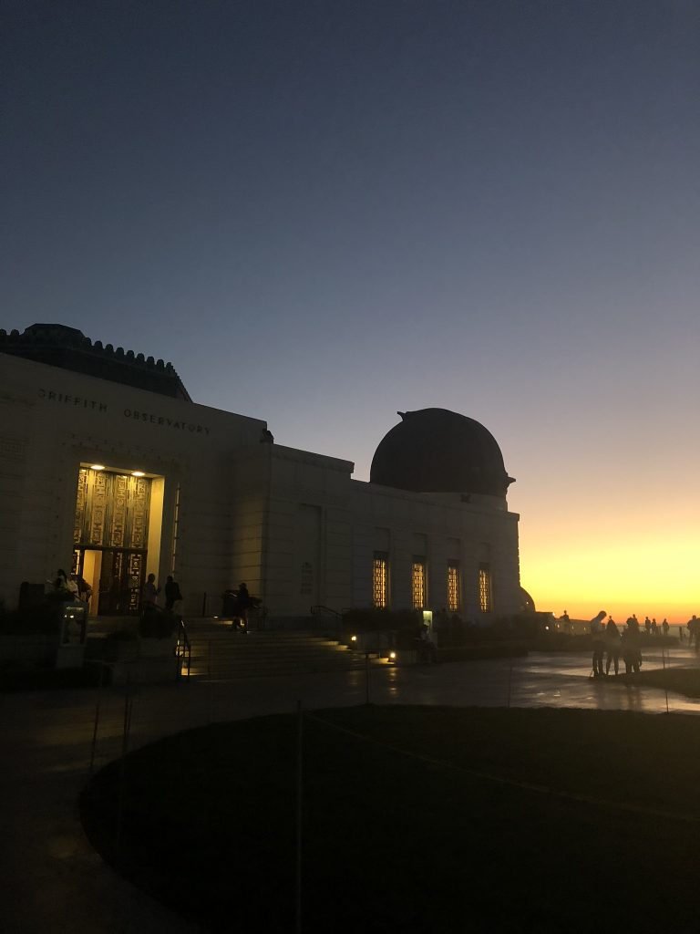 The Griffith Observatory at sunset