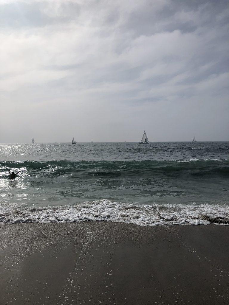 Sailboats on Venice Beach, California