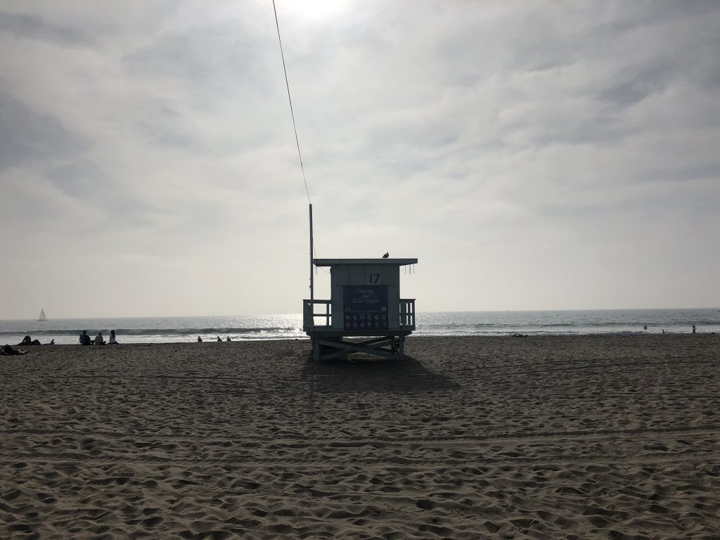 Lifeguard beach hut on Santa Monica Beach, California
