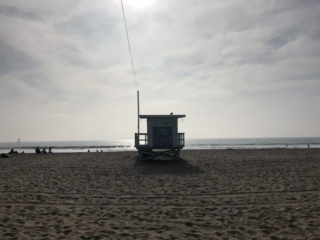 Lifeguard beach hut on Santa Monica Beach, California
