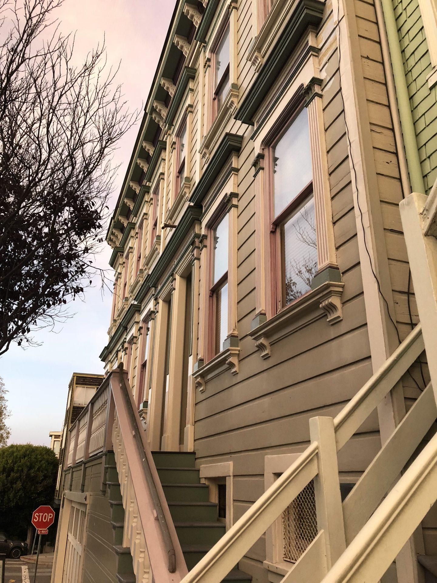 San Francisco houses at sunset