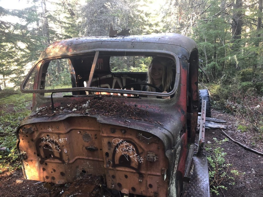 An abandoned car at Parkhurst ghost town near Whistler
