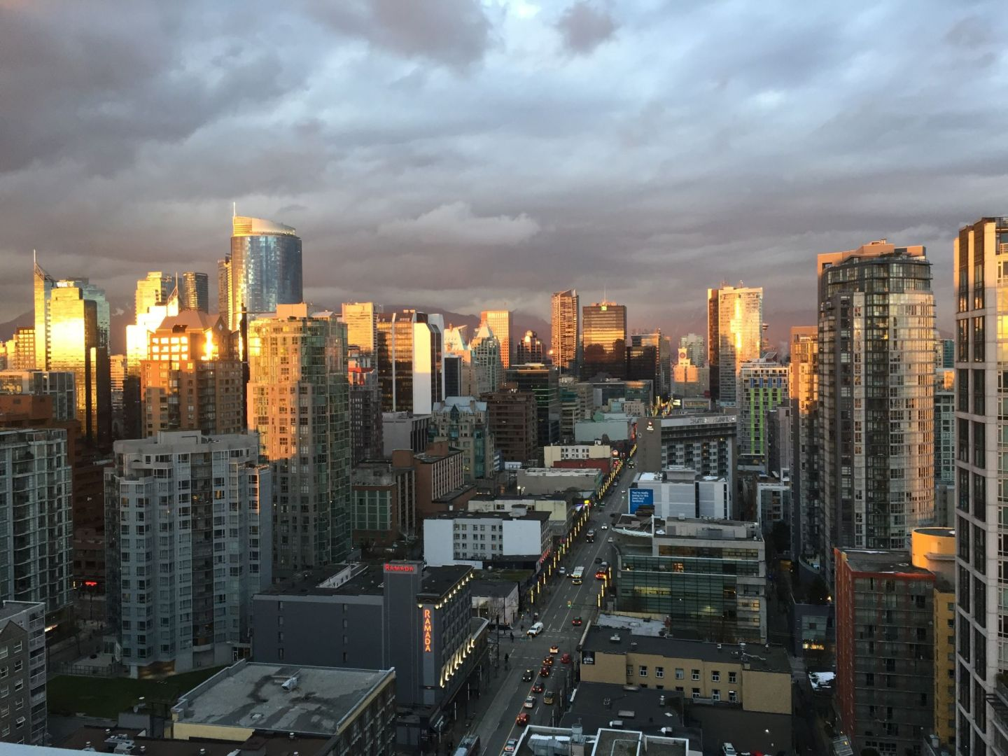 Sunset over downtown Vancouver