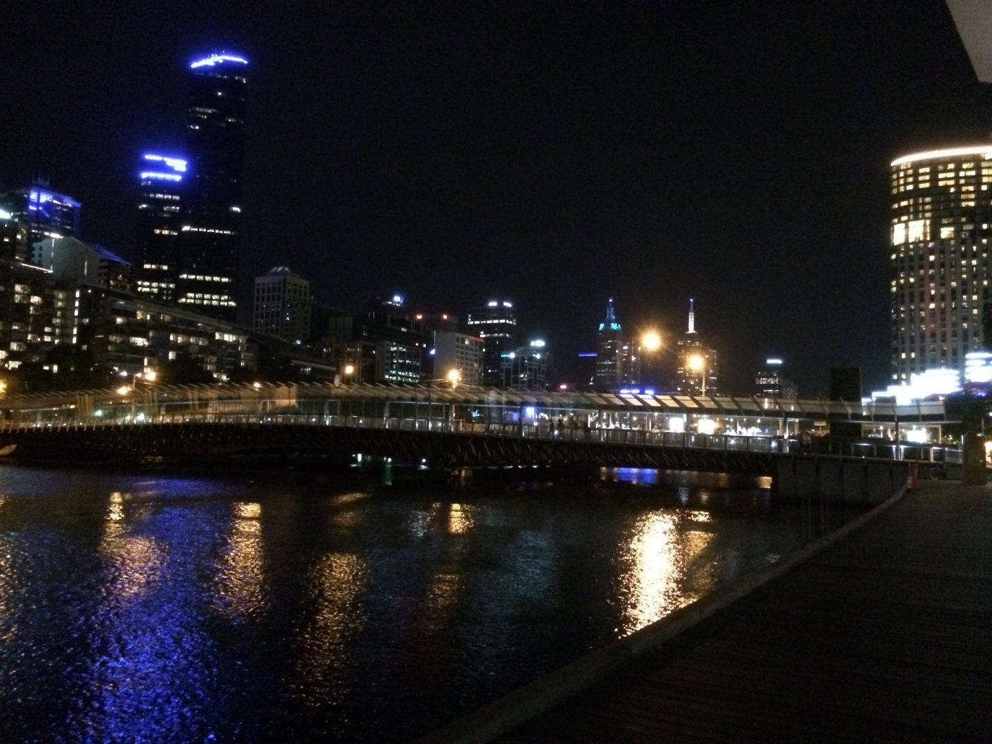 Melbourne's Yarra river by night