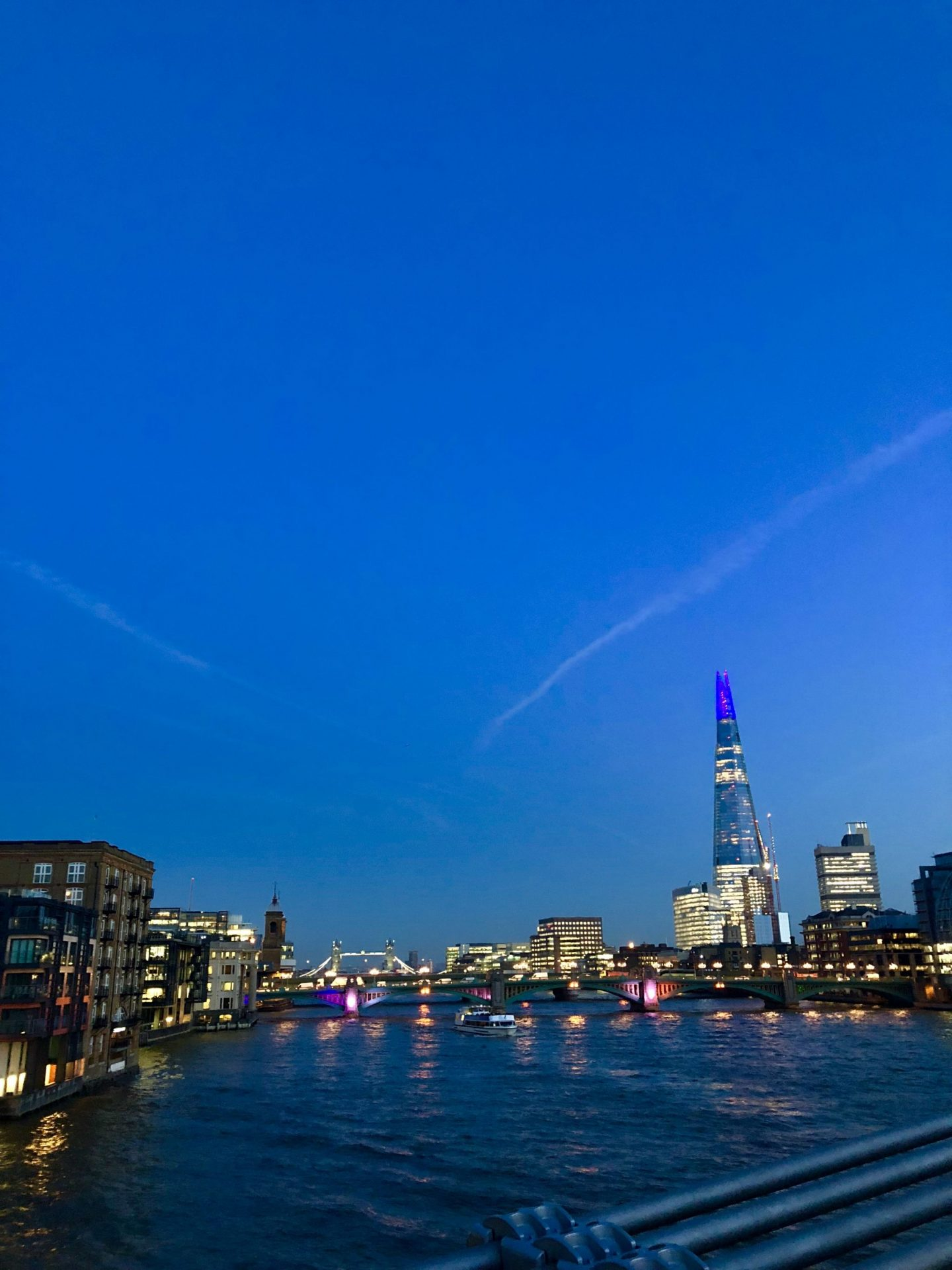 London skyline at night, including the Shard