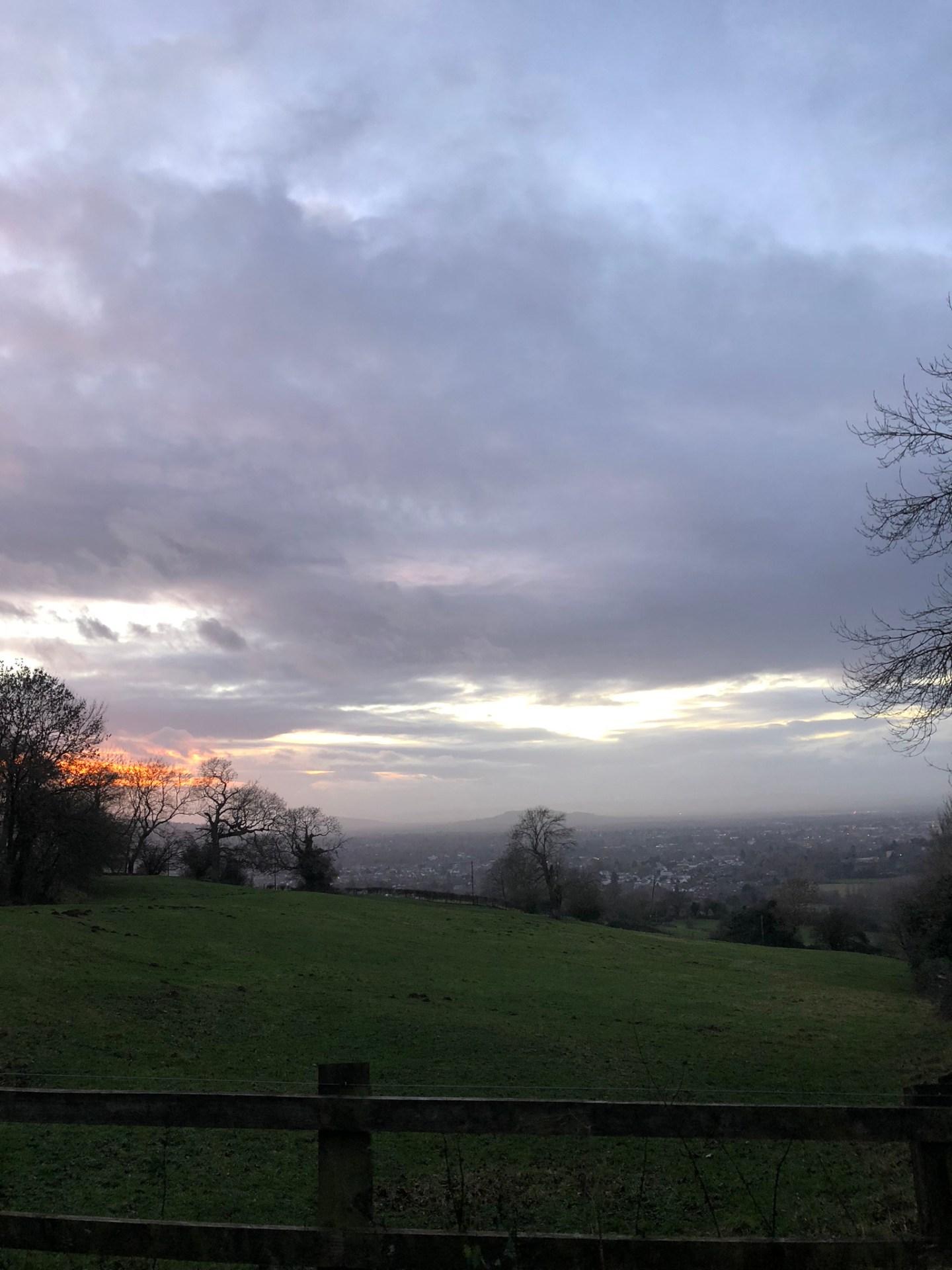 Home for the holidays: sunset over Cheltenham in December