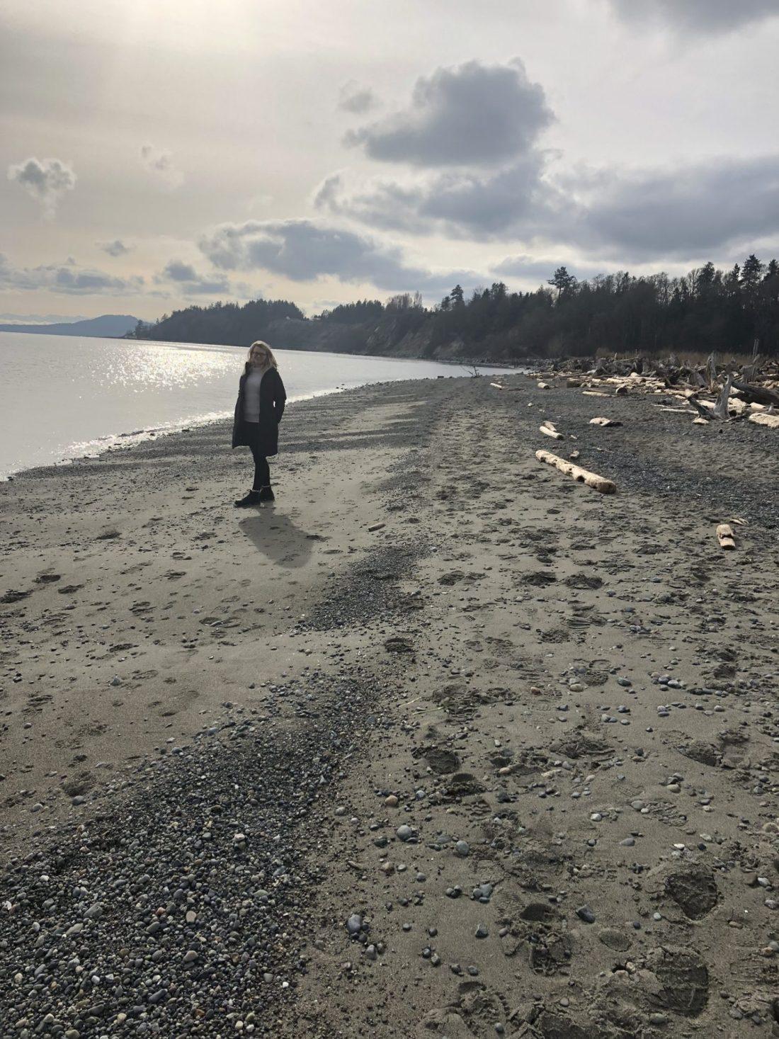 Laura on Island View Beach, Vancouver Island