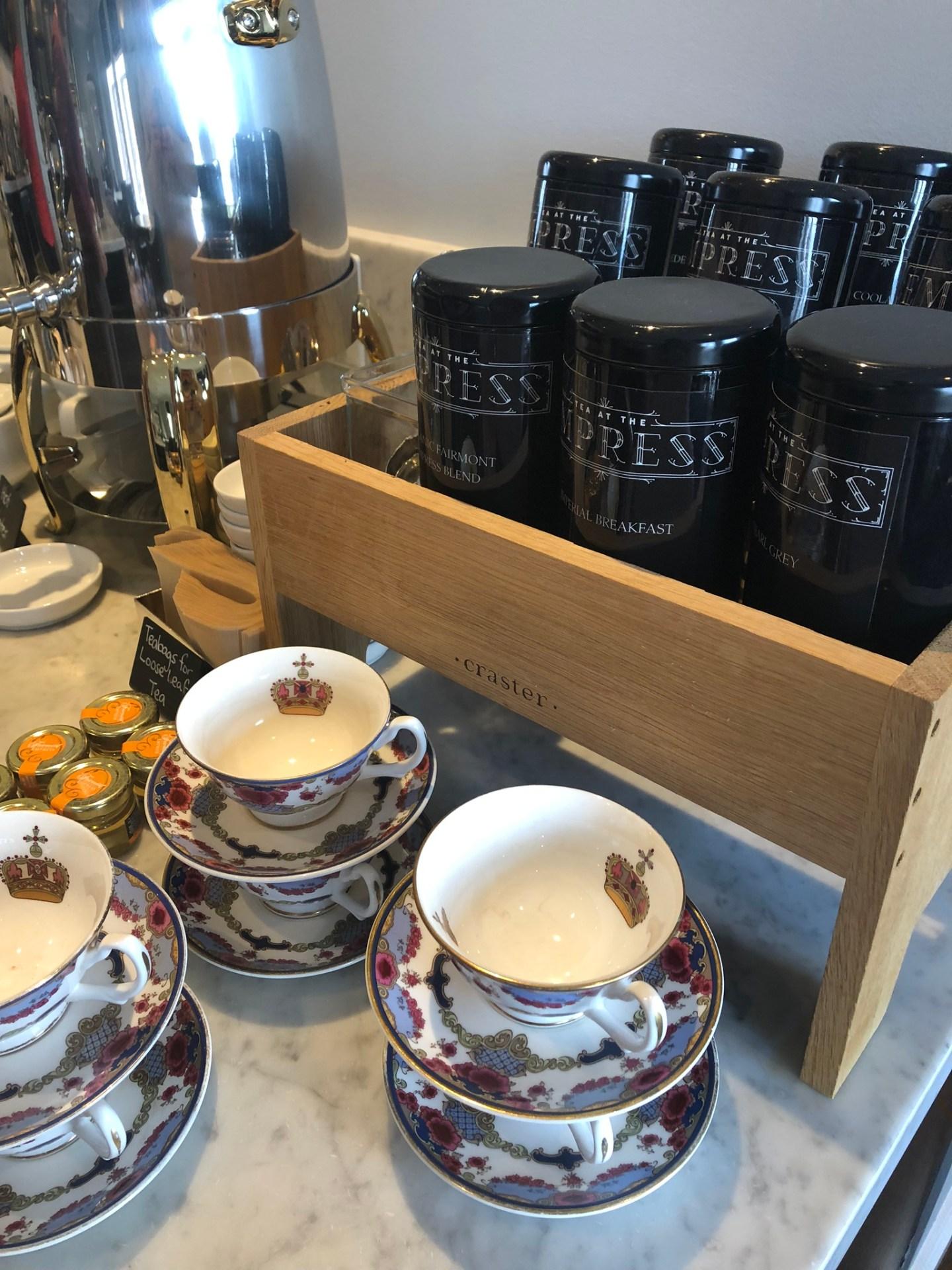 Tea selection at the Fairmont Empress